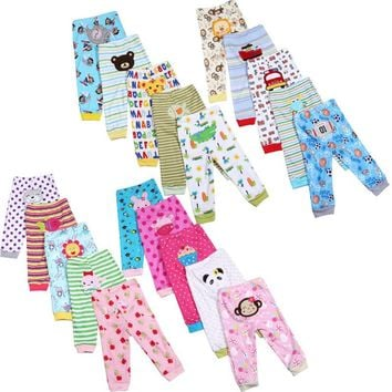 5pcs / Lot Baby Gril Pants Embroidered Animals Baby Pants 100% Cotton Infant Trousers Children's Pants Baby  Clothing Sets V32