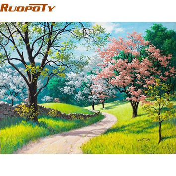 RUOPOTY Frame Cherry Blossoms Road DIY Painting By Numbers Kits Handpainted Oil Painting Home Decor Wall Art Picture 40x50CM