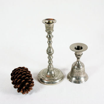 Vintage World Gift India Etched Silver Plated Over Brass Candlestick and Bell Candlestick