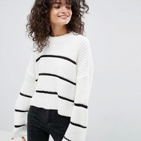 ASOS Chunky Jumper With Contrast Ladder Stitch at asos.com