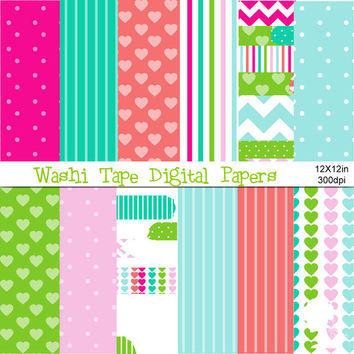 Digital Papers: Washi Tape in Hot Pink, Light Pink, Teal, Aqua, Green, Peach and White with Patterns
