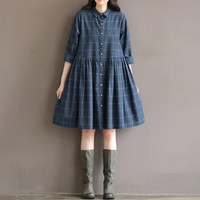 Johnature 2017 Spring Loose Mori Girl Plaid Cotton Plus Size Long Sleeve Dress Turn-down Collar Button Female Blue Dress