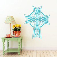 Celtic Cross Wall Decal Celtic Cross Decals Wall Vinyl Sticker Interior Home Decor Vinyl Art Wall Decor Bedroom SV5851