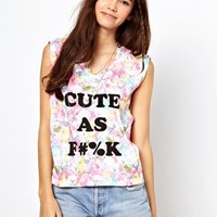 Minkpink Cute Cara Floral T-Shirt  asos cat kitty grunge punk goth indie hispter fuck