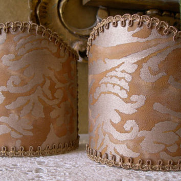 Pair of  Wall Sconce Clip-On Shield Shades Fortuny Fabric Sevigne Warm French Brown & Gold Pattern Mini Lampshade - Handmade in Italy