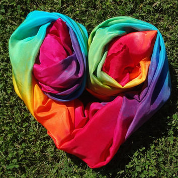 Big Double Rainbow Play Silk, 44x72 inches, Waldorf, scarf, sarong