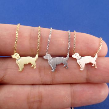 Golden Retriever Dog Shaped Pendant Necklace in Silver Gold or Rose Gold
