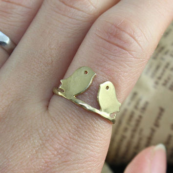 Love two bird Adjustment Ring