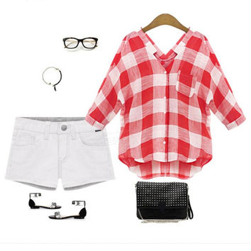 Summer Cosy Red Checkers Shirts Blouse Top for Women