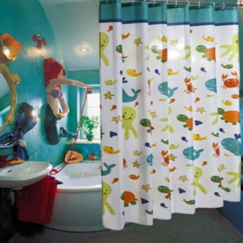 Kawaii Cartoon Kids Children Polyester Printing Shower Curtain Waterproof Mold Proof  Bathroom Curtain with Hooks Home Decor 1PC