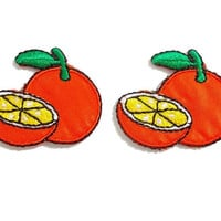 Set 2pcs. Orange Patch - Fruit Patch New Iron On Patch Embroidered Applique Size 3.6cm.x3cm.