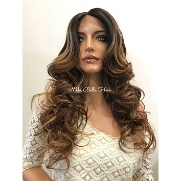 Balayage Praline Curly Human Hair Blend Deep Silk Top Parting Lace Front Wig - Lefkyia