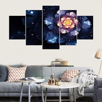 Printed Modular Picture Large Canvas Painting For Bedroom Living Room Home Wall Art Decor 5 Panel Beautiful Flowers PENGDA