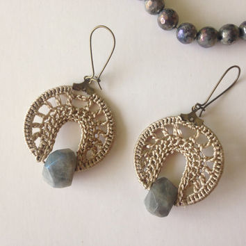 Hoop Earrings, Bohemian Jewellery, Tribal Earrings, Ethnic Jewelry, Boho Chic Earrings, Champagne Earrings, Earthy Earrings, Natural Stones