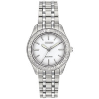 Citizen EM0240-56A Women's Carina Diamond Bezel White Dial Steel Bracelet Watch