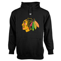 Chicago Blackhawks Old Time Hockey Big Logo with Crest Pullover Hoodie – Black