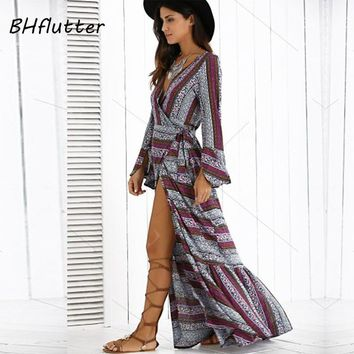 BHflutter 2018 Women Dress Flare Sleeve V neck Ruffles Long Bohemian Dress Striped Casual Summer Dress Split Sexy Beach Dresses