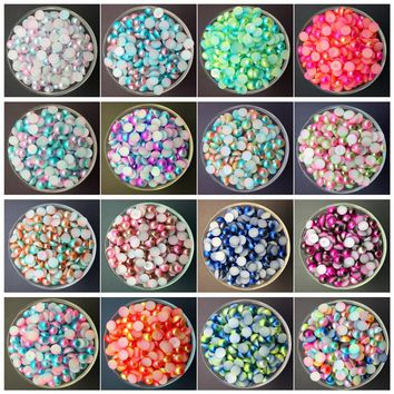 NEW DIY 3/4/5/6/8MM Multi-color Half Pearl Bead Flat Back Scrapbook for Craft FlatBack