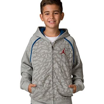 Jordan Nike Boy's Grade School Air 3 Sweater Face Full Zip Hoodie