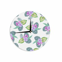 "Sylvia Cook ""Tropical Flowers"" Green Pink Floral Nature Watercolor Digital Wall Clock"