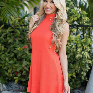 Womens Summer Orange Comfortable Dress Gift 91