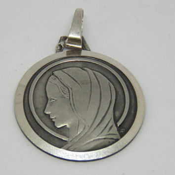 Vintage French, Virgin Mary, Hallmarked Silver Pendant, Adolphe Penin, SHIPPING INCLUDED