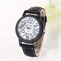 Unisex Vintage Roman Big Number Quartz Watch Leather Strap Black