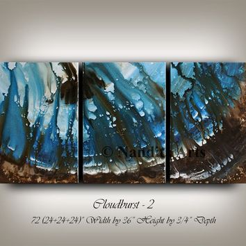 Large Blue Ocean Painting, Watercolor Painting on Canvas, Original Painting, Hand Made Ocean Artwork, Large Painting by Nandita Albright