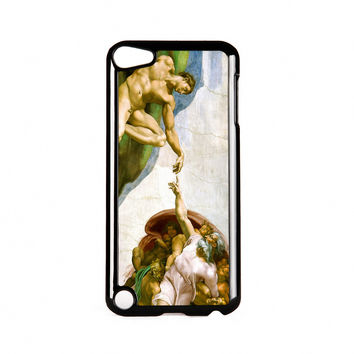 Creation of Adam by Michelangelo Black Hard Plastic Case for Apple iPod Touch 5th Gen by Painting Masterpieces