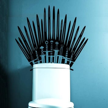 Iron Throne Toilet Decal wall Sticker home decor Parody inspired by Game of Thrones for behind your toilet on Bathroom