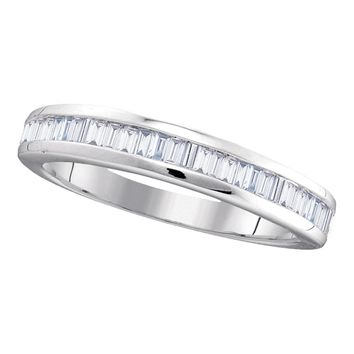10kt White Gold Womens Baguette Diamond Wedding Anniversary Band 1/2 Cttw