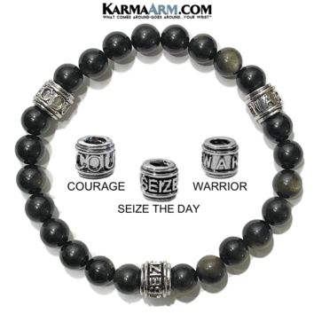 Motivation Mantra Bracelet | Golden Obsidian | COURAGE | SEIZE THE DAY | WARRIOR Bracelet