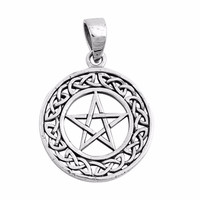 "Sterling Silver Celtic Pagan Wicca Pendant 27MM (FREE 18"" Chain)"