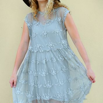 Cap Sleeve Lace Dress - Dusty Mint by POL Clothing