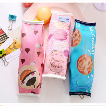 Kawaii Pencil Bag Creative Macaron Nut Biscuit Style Pencil Cases Stationery Escolar Office Supplies For Students Kids Gifts