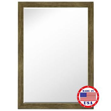 Hitchcock Butterfield Weathered Sand Barn Siding Petite Framed Wall Mirror