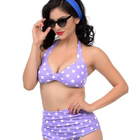 Esther Williams 1950s Style Lilac & White Dotted Two Piece Swimsuit