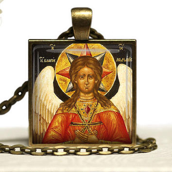 Russian Orthodox  Icon Sophia Wisdom of God Glass Tile Pendant Necklace Religious
