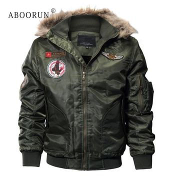 Trendy ABOORUN Men's Fashion Bomber Jacket with Fur Collar Military Thick Fleece Hooded Jacket Men's Winter Coat Parka W4040 AT_94_13