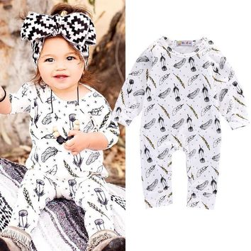 Baby Rompers Autumn Spring Long Sleeve Rompers Baby Girl Clothing Jumpsuits Newborn Baby Clothes Cotton Baby Feather Rompers