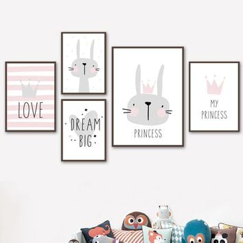 My Princess Rabbit Dream Big Bunny Nursery Prints Nordic Poster Wall Art Canvas Painting Wall Pictures Baby Girl Boy Room Decor