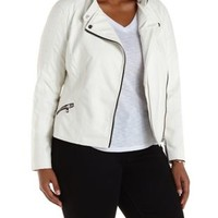 Plus Size White Quilted Faux Leather Moto Jacket by Charlotte Russe