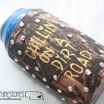 Chillin' On A Dirt Road Camo Bling Can Hugger // Country Party Beer Cozy // Redneck Camo Bling Can Cooler