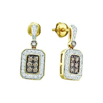 14kt Yellow Gold Womens Round Cognac-brown Colored Diamond Rectangle Dangle Screwback Earrings 1/4 Cttw