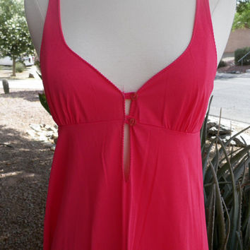 Vintage Night Gown. Hot Pink. Size S / M. Pink. Nighty. Lingerie. Full Length. Womens. Sexy Nighty.