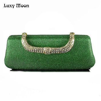 Unique Green Clutch Luxury Diamond Evening Bag With Crystals Clasp Purse Dumpling ShapeClutches Elegant Bridesmaid Handbag ZD271
