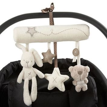 Cute Rabbit Baby Music Hanging Bed Safety Seat Plush Toy Hand Bell Multifunctional Plush Toy Stroller Mobile Gifts @z11