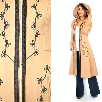 vintage 1960s bohemian floral EMBROIDERED hippie gypsy HOODED PRINCESS maxi coat jacket, extra small-medium