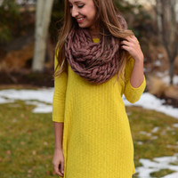 By the Fireside Sweater Dress - Mustard
