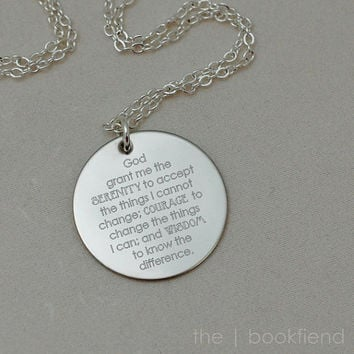 "serenity prayer, god grant me the serenity -- engraved 1"" charm necklace"